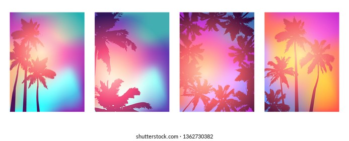 Background with silhouette of palm trees and tropical sunrise. Vector iilustration