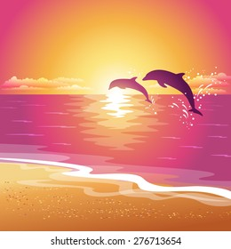 Background with silhouette of two dolphins at sunset. Eps10