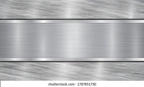 Background in silver and gray colors, consisting of a shiny metallic surface and one horizontal polished plate located centrally, with a metal texture, glares and burnished edges