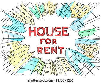 Background sketch for text on the rental of real estate. Color version. Apartment house circle frame. Flat vector illustration clipart. Hand drawn black line.