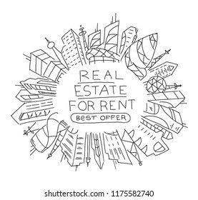 Background sketch for text on the rental of real estate. Apartment house circle frame. Flat vector illustration clipart. Hand drawn black line.