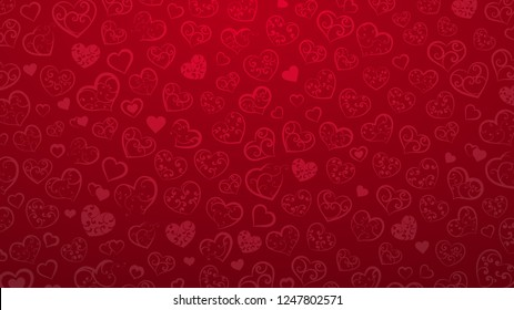 Background of small hearts with ornament of curls, in red colors