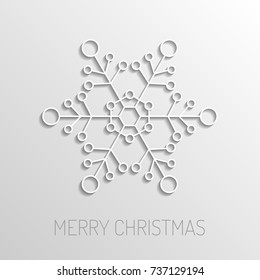 Background with snowflake and Shadow. Merry Christmas Greetings card.