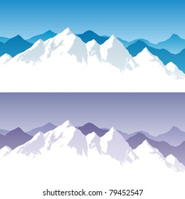 Background with snowy mountain range in 2 color versions. You can extend the white part below the peaks, and use it for typing text.