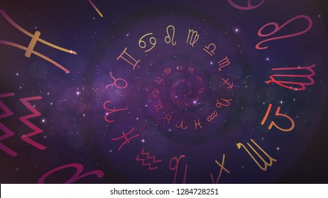 Background with spiral symbols of the zodiac signs in space. Astrology, esotericism, prediction of the future.