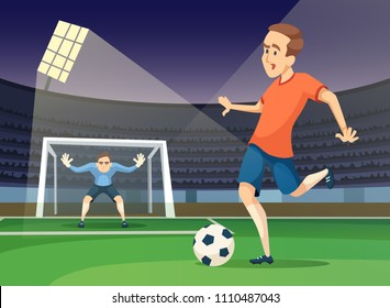 Background sport illustration of playing characters. Soccer mascots. Vector game player and goalkeeper cartoon