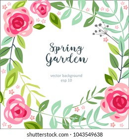 background spring flower garden summer floral with roses and leaves