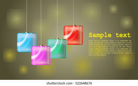 Background with square colored christmas tree gerlands