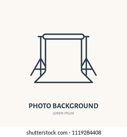 Background stand flat line icon. Photography equipment sign. Thin linear logo for photo studio. Photoshoot for documents.