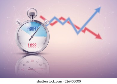Background of stopwatch for forex trader. Time to market trading. Profit and loss. Editable Vector Illustration isolated on white background.