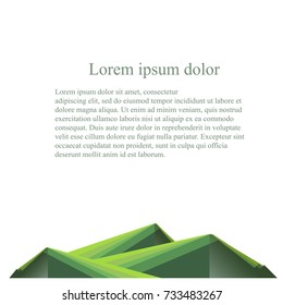 Background with stripes green mountain below Lorem Ipsum on white flat design stock vector illustration
