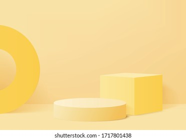 Background studio vector 3d yellow rendering with podium and minimal orange scene, abstract background light 3d rendering geometric stand yellow pastel color. Stage for product on website in modern.