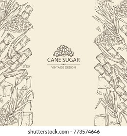 Background with sugarcane: cane sugar and sugarcane. Vector hand drawn illustration.