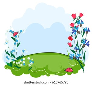 Background summer lawn with flowers. Cartoon children's lawn with flowers. Vector background