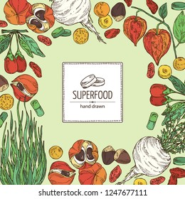 Background with super food: guarana, spirulina algae, maca peruvian, goji berries and physalis. Super food. Vector hand drawn illustration.