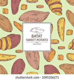 Background with sweet potato: root and sweet potato slice. Vector hand drawn illustration.