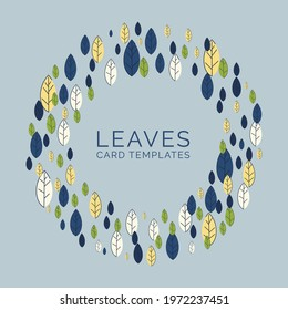Background template with abstract flat leaves. A wreath in a modern design in a round shape. Frame made from green and yellow leaves. Design for invitations and cards. Vector illustration - Shutterstock ID 1972237451