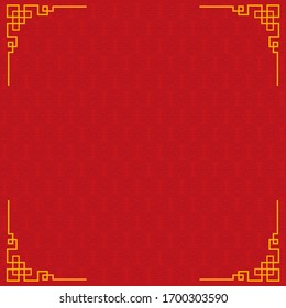 Background template with chinese new year pattern in red