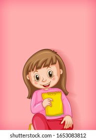 Background template design with happy girl eating snack illustration