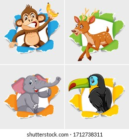 Background template design with wild animals illustration