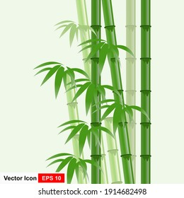 Background template with green bamboo illustration