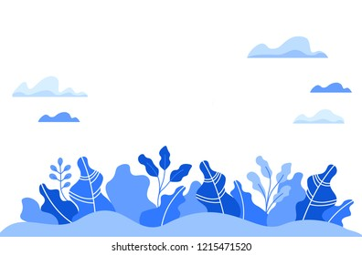 Background template with leaves, clouds, empty space. Flat design vector illustration