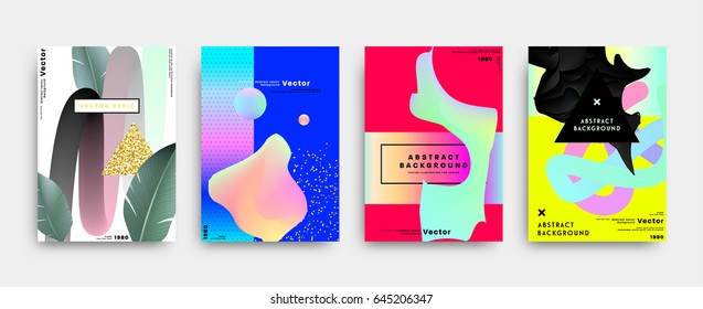 Background template with liquid and memphis elements. 80s retro color style for covers, placards, flyers, banners and posters. Eps10 vector illustration.