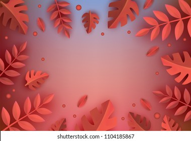 Background template with papercut autumn red dry leaves frame and text space. Origami paper natural forest objects, oak maple leaf for seasonal decoration design. Vector illustration