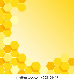 Background template with yellow hexagon pattern illustration