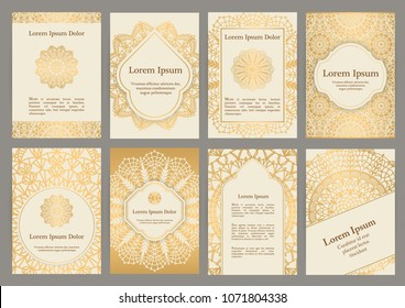 Background templates with crochet lace ornaments for flyer, book cover or invitation