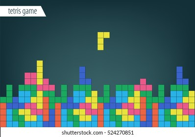 Background Tetris game. Colored shapes. Children's texture.