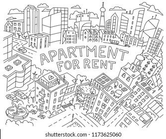 Background for text apartment for rent rental of real estate  sketch. Apartment house in a circle frame. Hand drawn black line vector illustration stock clipart