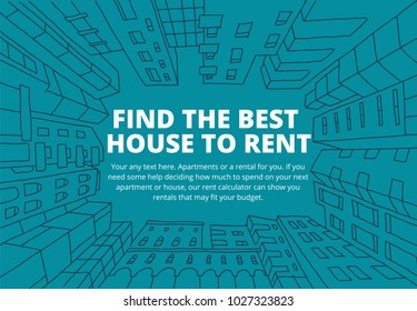 Background for text on the rental of real estate sketch. Apartment house in a circle frame. Hand drawn blue line. Flat color vector illustration stock clipart
