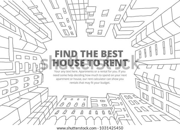 Hintergrund für Text über die Vermietung von Immobilien Skizze. Appartementhaus in einem Kreisrahmen. Handgezeichnete schwarze Linie. Flaches Vektorgrafik-Stockvideo