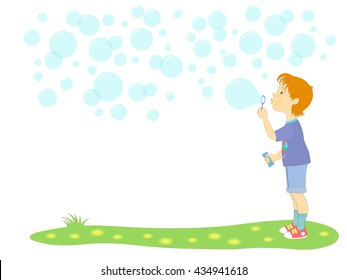 Background for text with a picture of a little boy blowing soap bubbles.