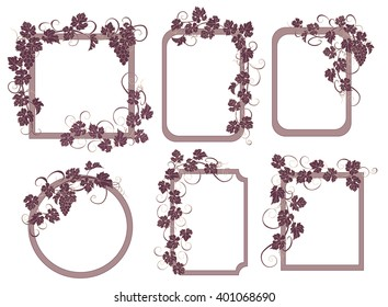 Background for text with vines and bunches of grapes. Set of frames with vines in vintage style.