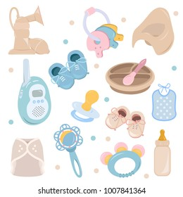Background, texture, backdrop, pattern, wallpaper with children cartoon doodle flat toys. Kids illustration. Baby shower. Icons set. Newborn baby vector collection. baby care things