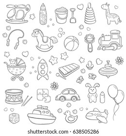 Background, texture, backdrop, pattern, wallpaper with children cartoon doodle toys. Educational games for kids, vector illustration. Baby shower. Icons collection set