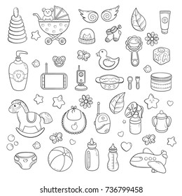 Background, texture, backdrop, pattern, wallpaper with children cartoon doodle toys. Educational games for kids illustration. Baby shower. Icons set. Newborn baby vector collection. baby care things