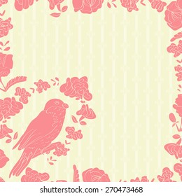 Background, texture, background, frame with flowers, bird. Pink color. Silhouette. Doodle.