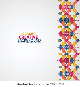 Background texture for greeting design Ramadan Kareem with Islamic ornamental colorful detail of mosaic.Vector illustration.