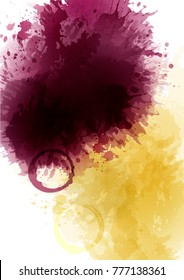Background texture of red wine and white wine stains. Background spots and wine drops. Artistic textured background. A4 size. Vector