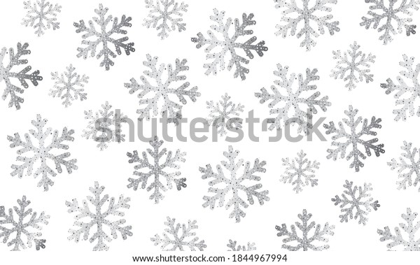 Background texture with silver snowflakes on white backdrop, illustration made of shiny particles effect, modern stylish wrap