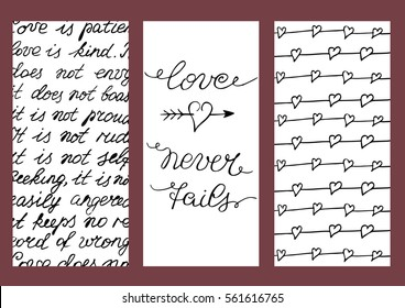 Background with three images with hand lettering Love never fails. Valentine s day. Calligraphy. Poster.