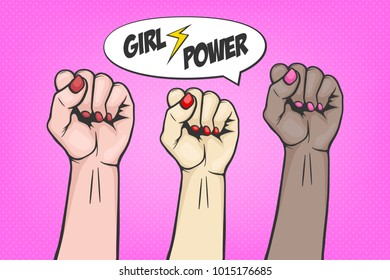 Background with three raised women s fist in pop art comic style - symbol unity or solidarity, with oppressed people and women s rights. Plackard with feminism concept, protest, rebel, revolution or