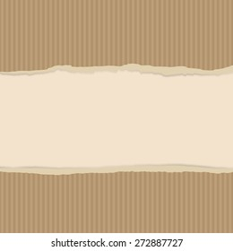 Background with torn brown package paper. Vector texture paper strips. Texture of the pastry bag.  Use for card, banner, letters, label etc. Eps 10.