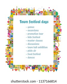 Background with town and houses for the festival or meeting, vector graphic illustation