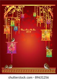 background for traditional chinese new year festival vector invitation card