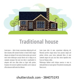Background with traditional home. On top is a house with lawn and trees. At the bottom of space for text and title to it.