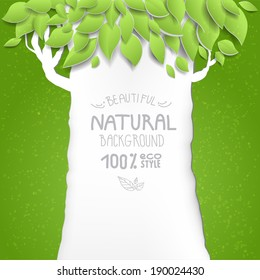 Background with tree. Eco style. Place for text.